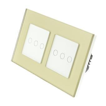 Ik LumoS goud glas dubbel Frame 6 bende 1 manier externe Touch LED licht schakelen witte invoegen