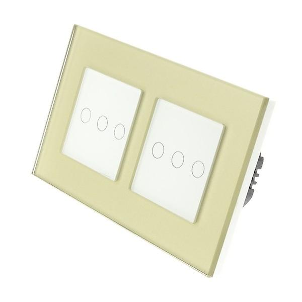 I LumoS Gold Glass Double Frame 6 Gang 2 Way Touch LED Light Switch White Insert