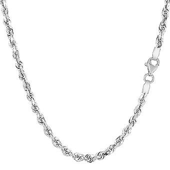 14k White Solid Gold Diamond Cut Rope Chain Necklace, 3mm