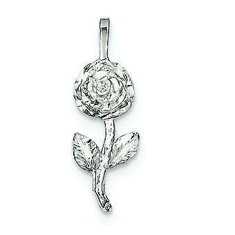 925 sterling sølv solid poleret tekstureret ryg Rose vedhæng-1,7 gram