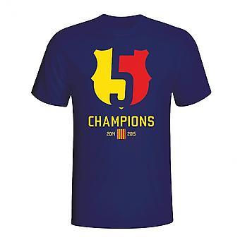 バルセロナ 2015年チャンピオン t シャツ (ネイビー)