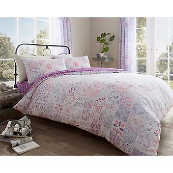 Amira Vintage blomstret dyne Quilt dækning Polycotton trykt sengetøj sæt alle størrelser