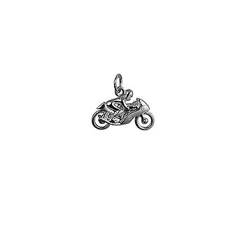 Silver 20x14mm Motorbike and Rider Pendant or Charm