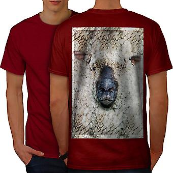 Sheep Face Cute Animal Men RedT-shirt Back | Wellcoda