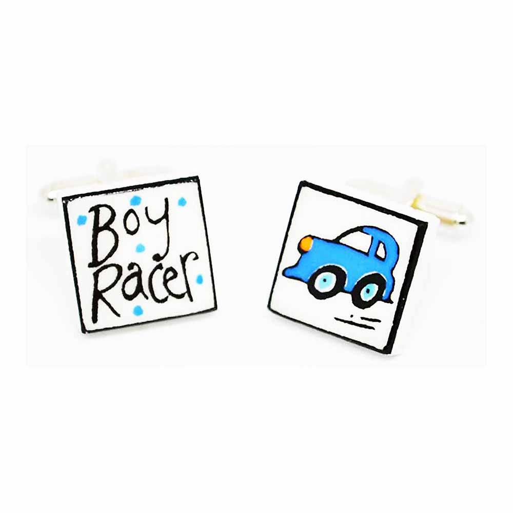 Sonia Spencer Blue Boy Racer Cufflinks - English Bone China Hand Crafted Cuff Links