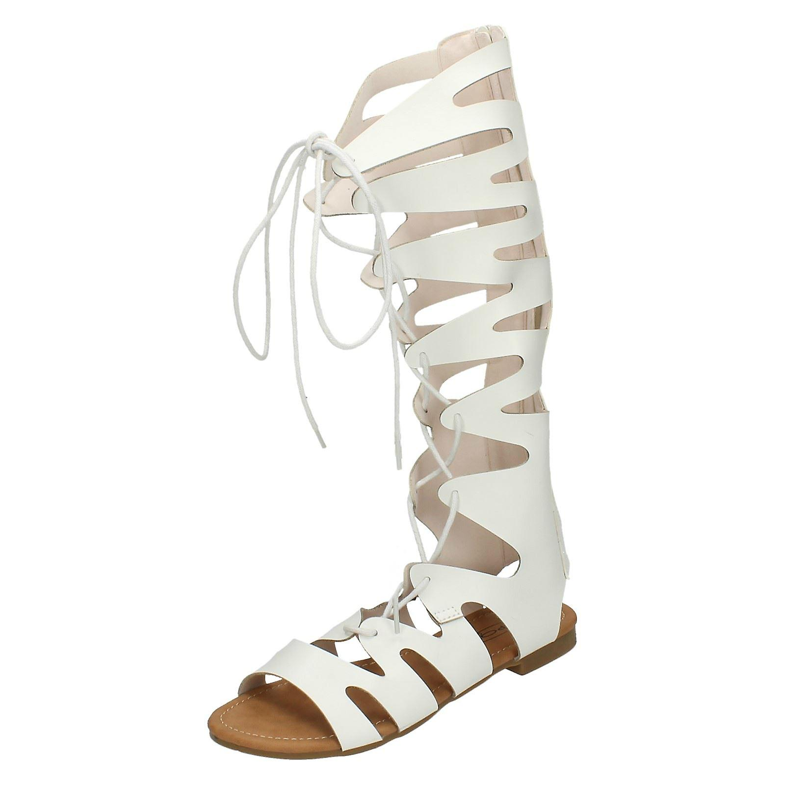 Ladies Spot On Lace Up Gladiator Sandals F0938