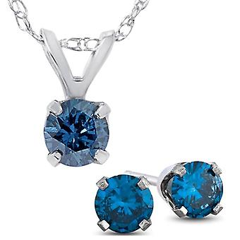 3/4ct Blue Diamond Solitaire Pendant & Studs Set 10K White Gold & Chain