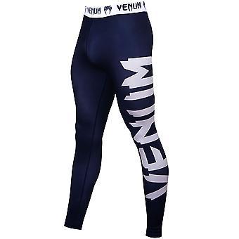 Venum reus Ultra lichte Fit gesneden droge Tech MMA compressie slobkousen - marineblauw/wit