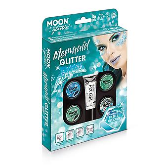 Mermaid Glitter Kit by Moon Glitter - 100% Cosmetic Glitter for Face, Body, Nails, Hair and Lips