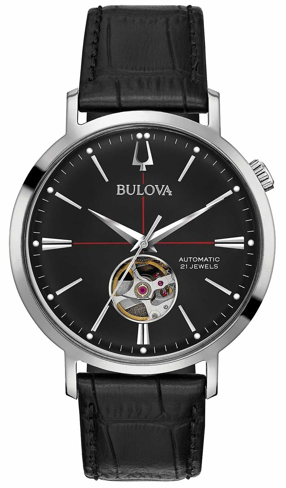 Bulova Men Automatic Black Leather 96A201 Watch