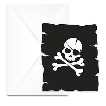 Pirates black skull pirate skull and crossbones party invitation cards 6 piece children birthday theme party
