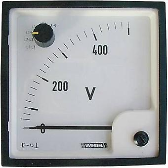 Weigel EQ 96 SWT 0 - 500 V/AC Control panel-moving armature ammeter with change over switch 0 - 500 V AC Moving iron