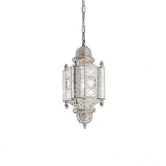 Ideal Lux Nawa 2 Silver Oriental Indian Lantern Pendant