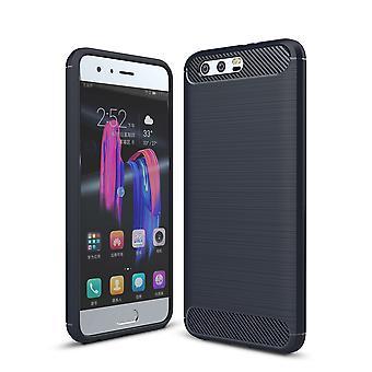 Huawei Honor 9 TPU Case Carbon Fiber Optik Brushed Schutz Hülle Blau