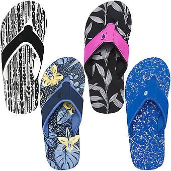 Tierische Womens Swish Aop Slip auf Strand Urlaub Sommer Riemen Sandalen Flip Flops