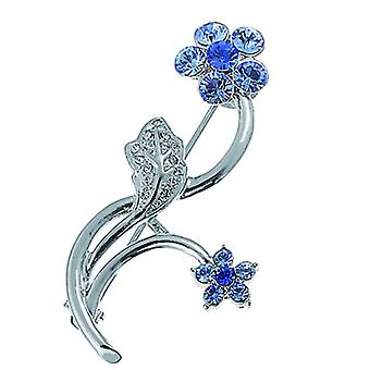 Oliver Weber Brooch 2-Flowers Blue