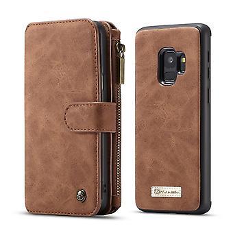 CASEME Samsung Galaxy S9 Retro leather wallet Case-brown