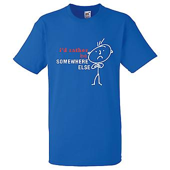 Mens I'd Rather Be Somewhere Else Royal Blue Tshirt