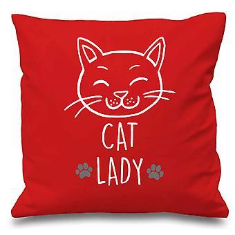 Housse de coussin rouge Lady Cat 16