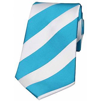 David Van Hagen Bold Stripe Polyester Tie - Turquoise/blanc