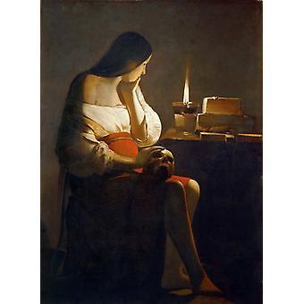 Magdalene of the Night Light,Georges de La Tour,50x37cm