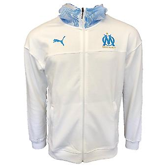 2019-2020 Olympique Marseille Puma Casuals zip via Hoody (wit)