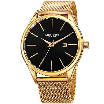 Akribos XXIV Men es AK959 Quartz Sunray Dial Date Stainless Steel Mesh Watch AK959YGB