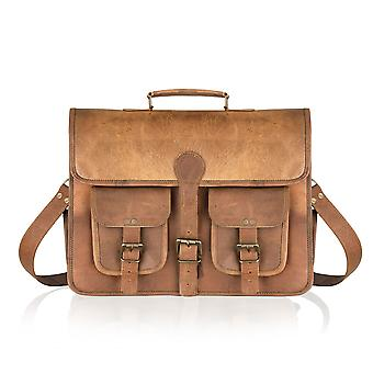 Vintage Tan Satchel Briefcase Double Pockets 14.5
