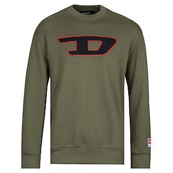 Diesel Duże logo klatki piersiowej Khaki Zielona bluza
