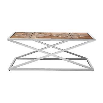 Fusion Living Ondeado madera de abeto mesa de centro con marco de plata