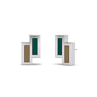 Jacksonville University Sterling Silber asymmetrische Emaille Ohrstecker In grün und braun