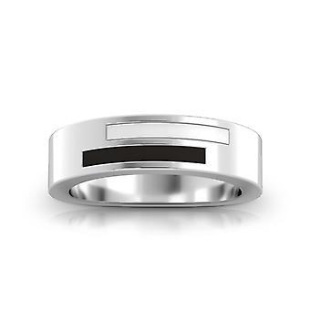 Simon Pagenaud Sterling Silver Asymmetric Enamel Ring In Black & White
