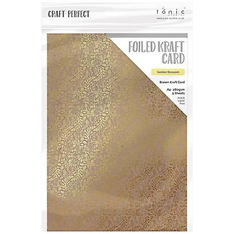 Craft Perfect by Tonic Studios A4 Foiled Craft Card Golden Blossom