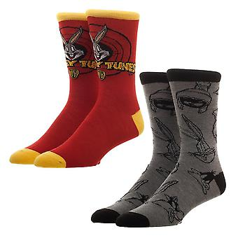 Crew Socks - Looney Tunes - 2 Pack New Licensed xs6q8wlnt