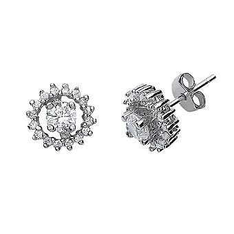 Jewelco London Rhodium Plated Sterling Silver Round Brilliant Cubic Zirconia Halo Stud Earrings