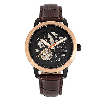 Reign Rudolf Automatic Skeleton Leather-Band Watch - Brown/Black