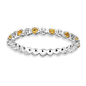 925 Sterling Silver Polished Prong set Rhodium plated Stackable Expressions Citrine and Diamond Ring Jewelry Gifts for W