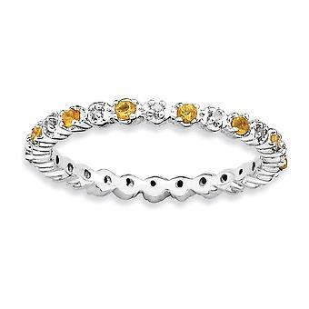 925 מלוטש כסף שטרלינג הגדר מצופה רודיום ביטויים הערמה סיטרין, טבעת יהלום תכשיטים מתנות W