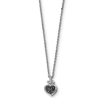 925 Sterling Silver Polished Prong set Open back Lobster Claw Closure White and Black Diamond Love Heart Pendant Necklac