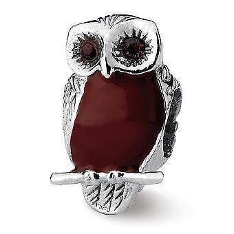 925 Sterling Silber poliert antike Finish Reflexionen braun emaillierte Weise Eule Perle Charme