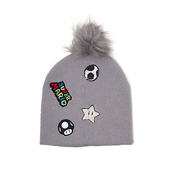 Super Mario Beanie Hat Patches logo bobble new Official Nintendo Grey