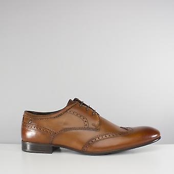 Basis London Purcell Herren gewaschen Leder Brogue Schuhe Tan