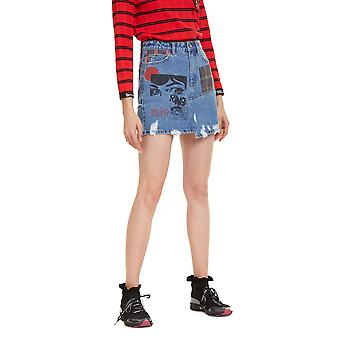 Desigual Women's Comic Design Falda deNim