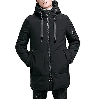 Allthemen mannen ' s Solid hodded mid-length jas casual lange overjas multi Pocket