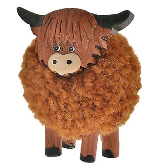 Standing Pom Pom Highland Cow Ornament by Langs