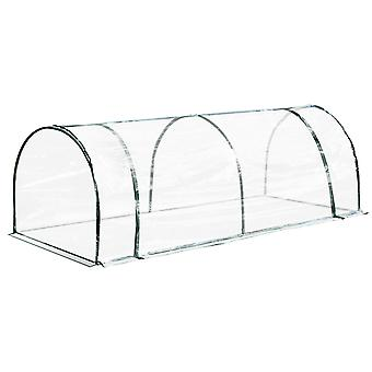 Outsunny Tunnel Greenhouse Green Grow House for Garden Outdoor, Steel Frame, PVC Cover, Transparent, 250 x 100 x 80cm