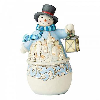 Jim Shore Heartwood Creek rauhallinen ja kirkas lumi ukko kylä kohtaus Figurine