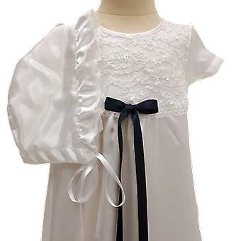 Abito di battesimo bianco e bonnet, con blu scuro Slim Rosette Ma.v