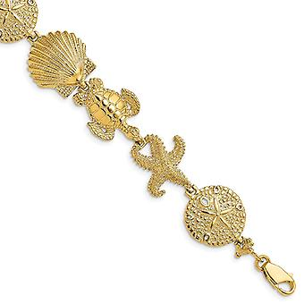 14k Ouro De Ouro De Estrela-Dona do Mar e pulseira shell alto polonês e presentes de joias texturizados de 7 polegadas para mulheres