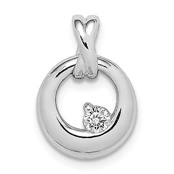 925 Sterling Silver Rhodium plated CZ Cubic Zirconia Simulated Diamond Circle Pendant Necklace Jewelry Gifts for Women